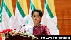 Udhëheqësja 'de fakto' e Mianmarit, Aung San Suu Kyi.