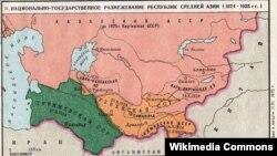 Карта Центральной Азии в составе СССР 1922 года.