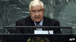 Syrian Foreign Minister Walid al-Moualem speaks at the UN General Assembly on October 1.