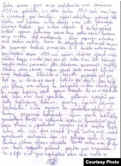 Bayram Məmmədovun işgəncə haqda yazdığı məktub