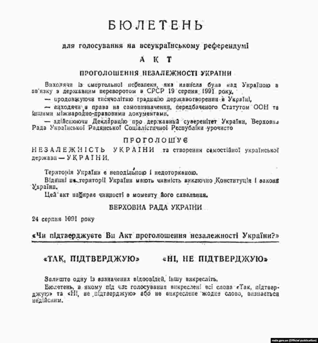 Бюлетень для голосування на Всеукраїнському референдумі
