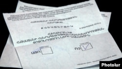 Armenia - A ballot cast in a constitutional referendum, Yerevan, 6Dec2015.