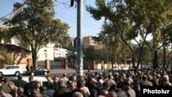 Workers at the Nairit company hold a rally near the presidential residence on November 12.