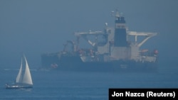 The Iranian oil tanker Grace 1 sits anchored in the Strait of Gibraltar on August 14.