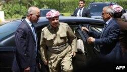 Ирактағы күрд автономиясы президенті Масуд Барзани (ортада). Эрбил, 3 шілде 2014 жыл.