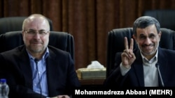 Iran's former president Mahmoud Ahmadinejad (R) and Tehran's former mayor Baqer Qalibaf January 19, 2019.