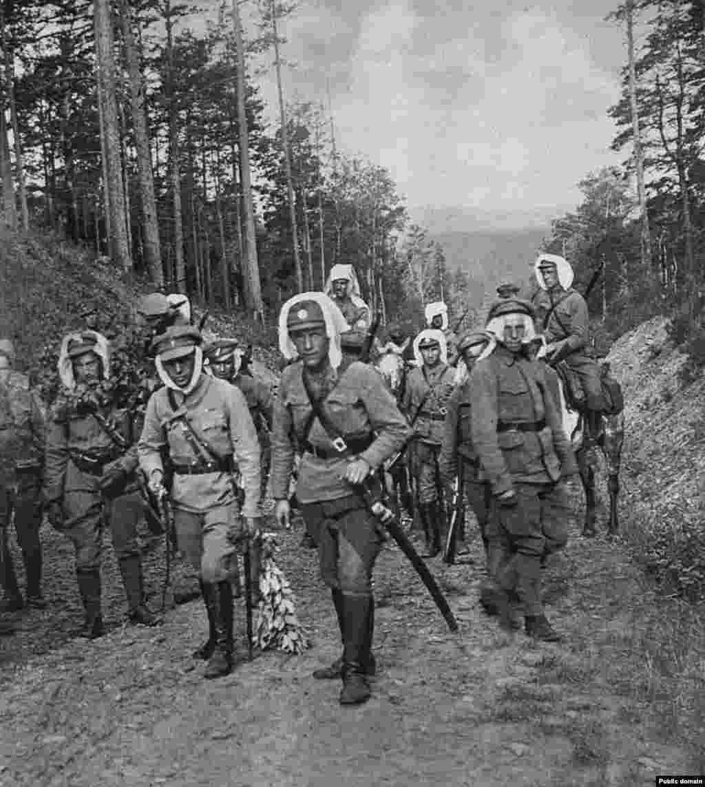 Legionnaires on a patrol in Siberia. Although World War I had finished, the Russian Civil War was just heating up.