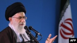 Iran's Supreme leader Ayatollah Ali Khamenei speaks to students in November