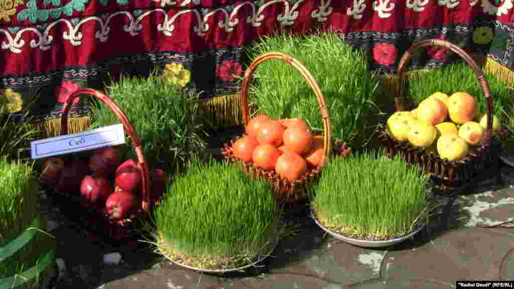 Sprouted wheat, grown in dishes ahead of Norouz, is one of the symbols of spring rebirth.