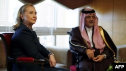 U.S. Secretary of State Hillary Clinton meets with Saudi Arabia's Foreign Minister Saud al-Faisal in Tunis in late February.