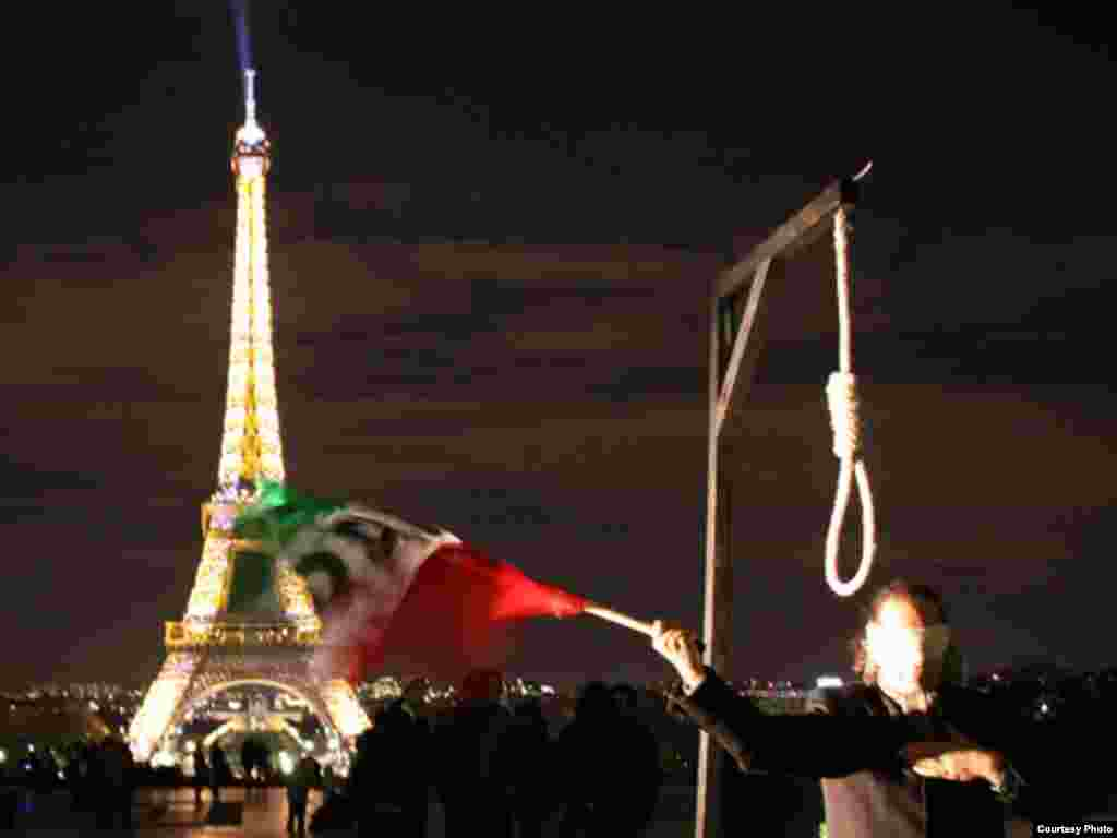 Political activists stage a demonstration in Paris against the use of the death penalty in Iran. - Photo by Maryam for RFE/RL