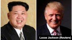 АҚШ президенті Дональд Трамп (оң жақта) пен Солтүстік Корея басшысы Ким Чен Ын (фотоколлаж)