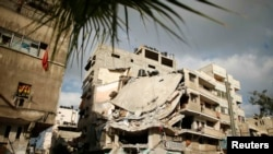 A destroyed house in Gaza City that police said was targeted in an Israeli air strike on July 18.
