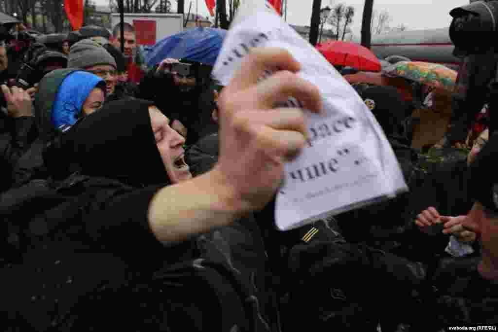 As Klishevich attacked Dashkevich, Klishevich reportedly shouted communist slogans.