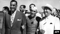 Yugoslav President Josip Broz Tito (right) with Egyptian President Gamal Abdel Nasser (left) and Indian Prime Minister Jawaharlal Nehru, shown here meeting in 1956, are considered to be among the founding fathers of NAM.