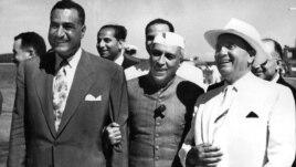 Hindistan prezidenti Jawaharlal Nehru (ortada), 1956