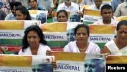 طرفداران آنا هزاری در «جنبش هند علیه فساد»