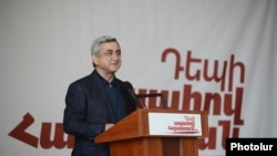 Armenia -- President and presidential candidate Serzh Sargsian campaigns in Syiunik, 23Jan2013.