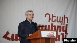 Armenia -- President and presidential candidate Serzh Sargsian campaigns in Syiunik, 23Jan2013.