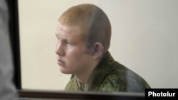 Armenia - Valery Permyakov, a Russian soldier accused of killing seven members of Avetisian family in Gyumri, is tried by a Russian military court, Gyumri,12Aug,2015.