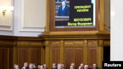 Прэзыдэнт Украіны Віктар Януковіч выступае ў Вярхоўнай радзе Ўкраіны 1 лютага 2011