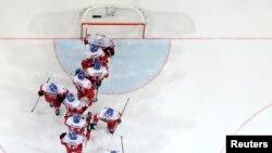 Чехия хоккей құрамасының ойыншылары. Прага. 7 мамыр 2015 жыл.