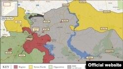 مناطق تحت کنترل کردهای سوریه در این نقشه به رنگ زرد نشان داده شدهاند.