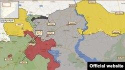 نقشه بخشی از شمال سوریه. عفرین ناحیه زردرنگ سمت چپ و هممرز با ترکیه است. دیگر مناطق تحت کنترل کردها به صورت زردرنگ در سمت راست نقشه نشان داده شده است.