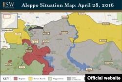 شهر دابق در منطقه حائل بین دو ناحیه کردنشین (زردرنگ) شمال سوریه قرار دارد