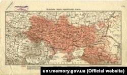 Мапа українських земель, надрукована у Відні приблизно у 1900 році