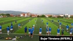 """Futbollistët e klubit """"Prishtina"""" po përgatiten për ndeshjet në Ligën e Evropës."""
