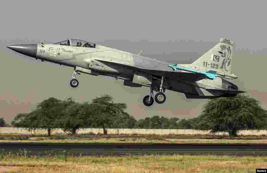 A Chinese-made F-7PG fighter jet of the Pakistan Air Force takes off from Mushaf base in Sargodha on June 7, 2013