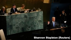 U.S. President Donald Trump addresses the UN General Assembly in 2017. He will speak again on September 25.
