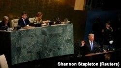 Trump gjatë adresimit në Asamblenë e Kombeve të Bashkuara më 2017.