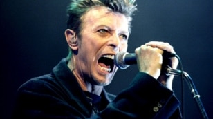 Austria -- David Bowie performs during a concert in Vienna, February 4, 1996