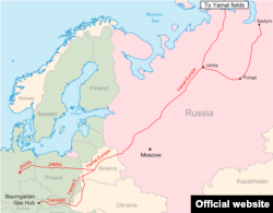 Мапа постачання російського газу через Польщу
