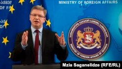 European Commissioner for Enlargement and European Neighborhood Policy Stefan Fuele speaks in Tbilisi on March 4.