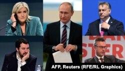 Tango noir? Vladimir Putin (center) and his European pals (clockwise from upper left): Marine Le Pen, Viktor Orban, Norbert Hofer, and Matteo Salvini.