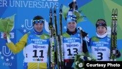 Казахстанская лыжница Татьяна Осипова (в центре). Трентино, 12 декабря 2013 года.