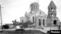 Nagorno-Karabakh - Karabakh Armenian troops are pictured outside an Armenian church in Shushi after capturing the town from Azerbaijani forces on 9 May 1992.
