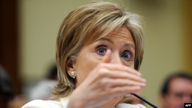 """U.S. Secretary of State Hillary Clinton testifies before the House Foreign Affairs Committee hearing on """"New Beginnings: Foreign Policy Priorities in the Administration,"""" on April 22."""