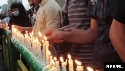 Candles are lit in central Tehran on June 18.