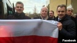 Юрась Губарэвіч, Джон Маккейн і Анатоль Лябедзька, Вільня, сьнежань 2016