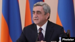 Armenia -- President Serzh Sargsian speaks at the meeting of Council for Nuclear Security in Yerevan. 06Dec., 2010to journalists in Gavar. 26Nov., 2011