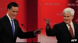 Два главных кандидата на номинацию от Республиканской партии - Митт Ромни и Ньют Гингрич