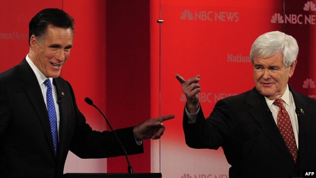 Mitt Romney (left) and Newt Gingrich are the leading candidates for the Republican nomination