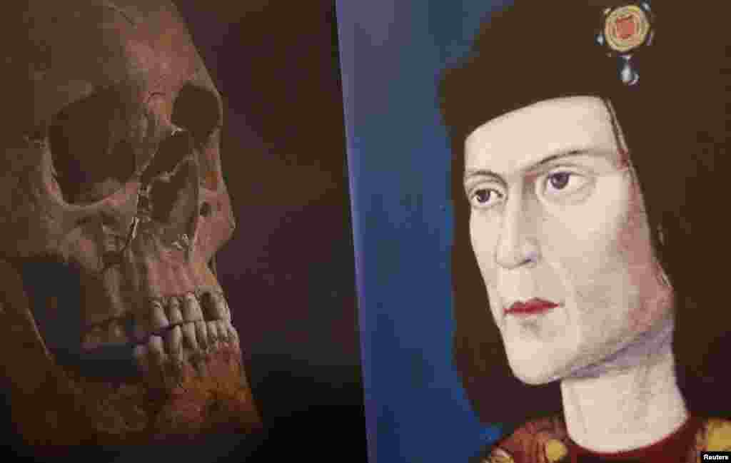 A television screen grab shows a portrait of the king beside his newly identified skull. Richard was widely depicted as one of history's villains, and was described by William Shakespeare as a hunchback and a murderer.