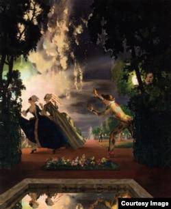 К. Сомов. Романтическое преследование. 1935. Холст, масло. Частная коллекция.