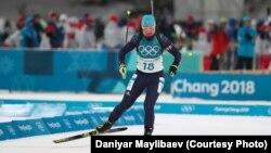 Казахстанская биатлонистка Галина Вишневская во время выступления в спринте. Пхёнчхан, 10 февраля 2018 года.