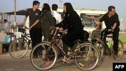 Women in Iran had long assumed that they could bicycle in public if they respected the country's strict dress code. (file photo)